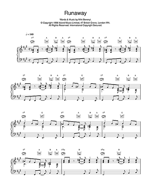 Lush Runaway sheet music notes and chords