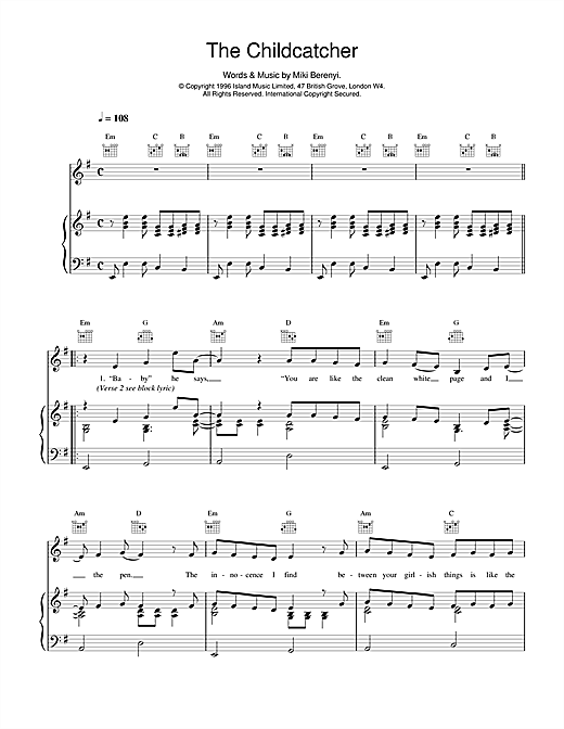Lush The Childcatcher sheet music notes and chords