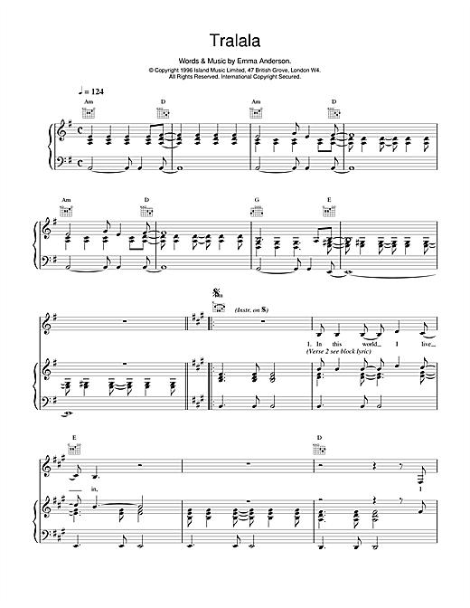 Lush Tralala sheet music notes and chords
