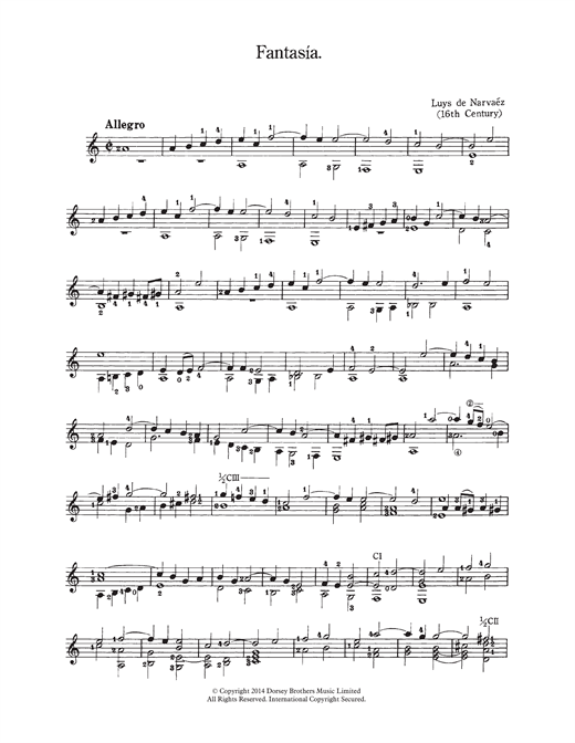 Luys de Narvaez Fantasia sheet music notes and chords