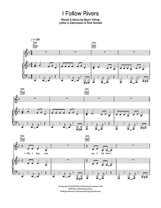 Lykke Li I Follow Rivers sheet music notes and chords