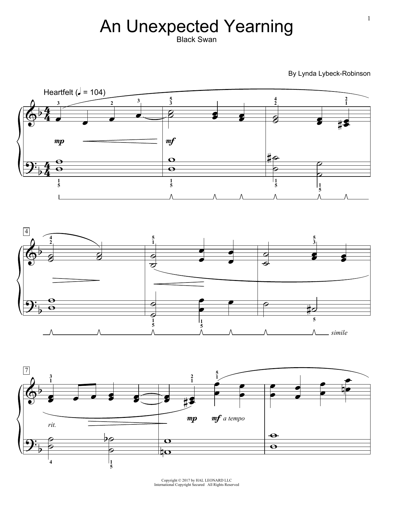 Lynda Lybeck-Robinson An Unexpected Yearning sheet music notes and chords. Download Printable PDF.