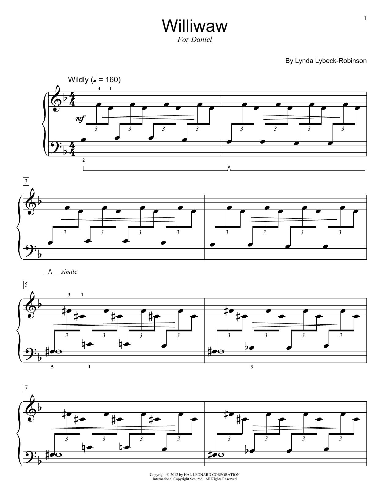 Lynda Lybeck-Robinson Williwaw sheet music notes and chords. Download Printable PDF.