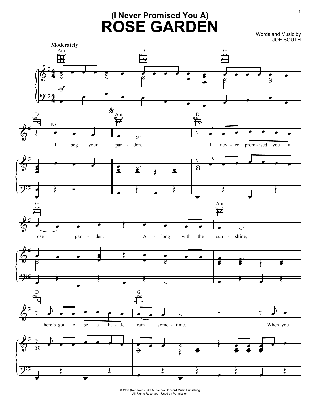 Lynn Anderson (I Never Promised You A) Rose Garden sheet music notes and chords. Download Printable PDF.