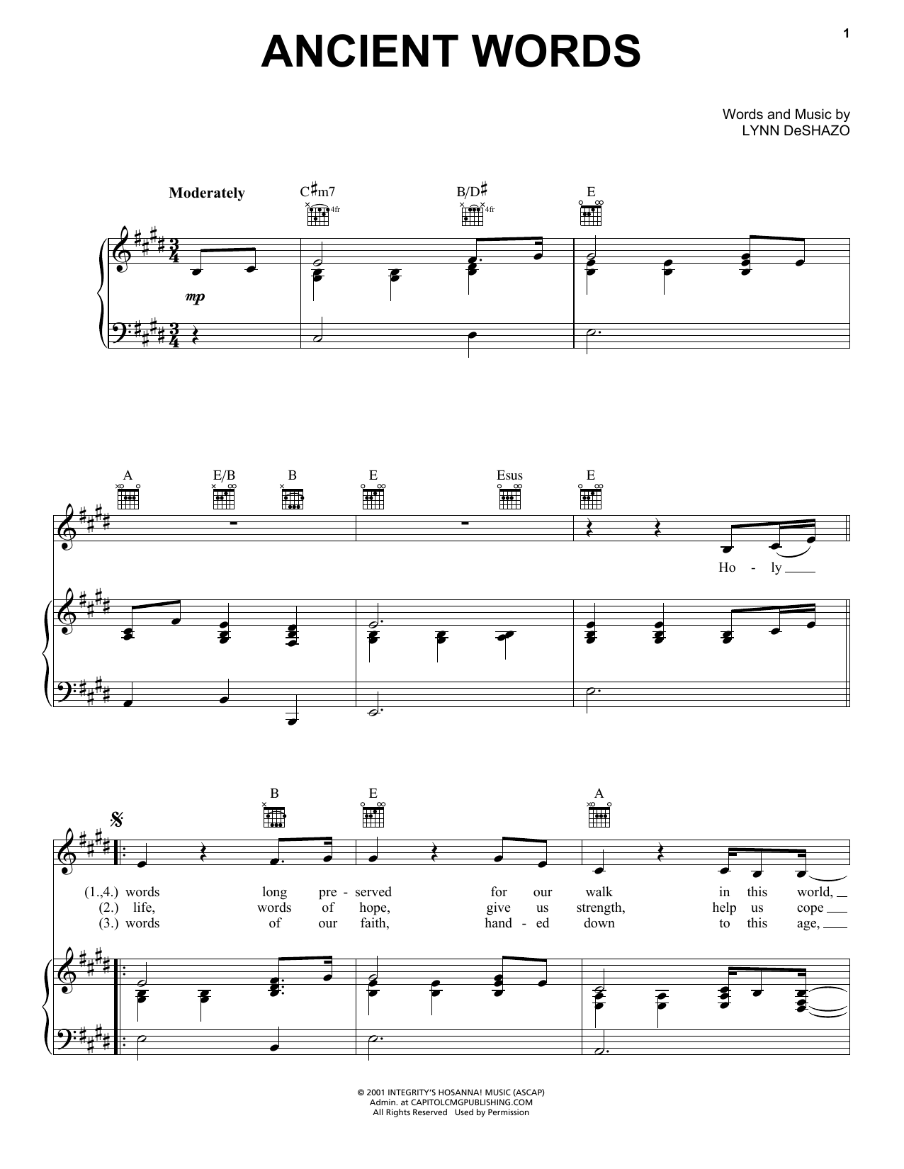 Lynn DeShazo Ancient Words sheet music notes and chords. Download Printable PDF.