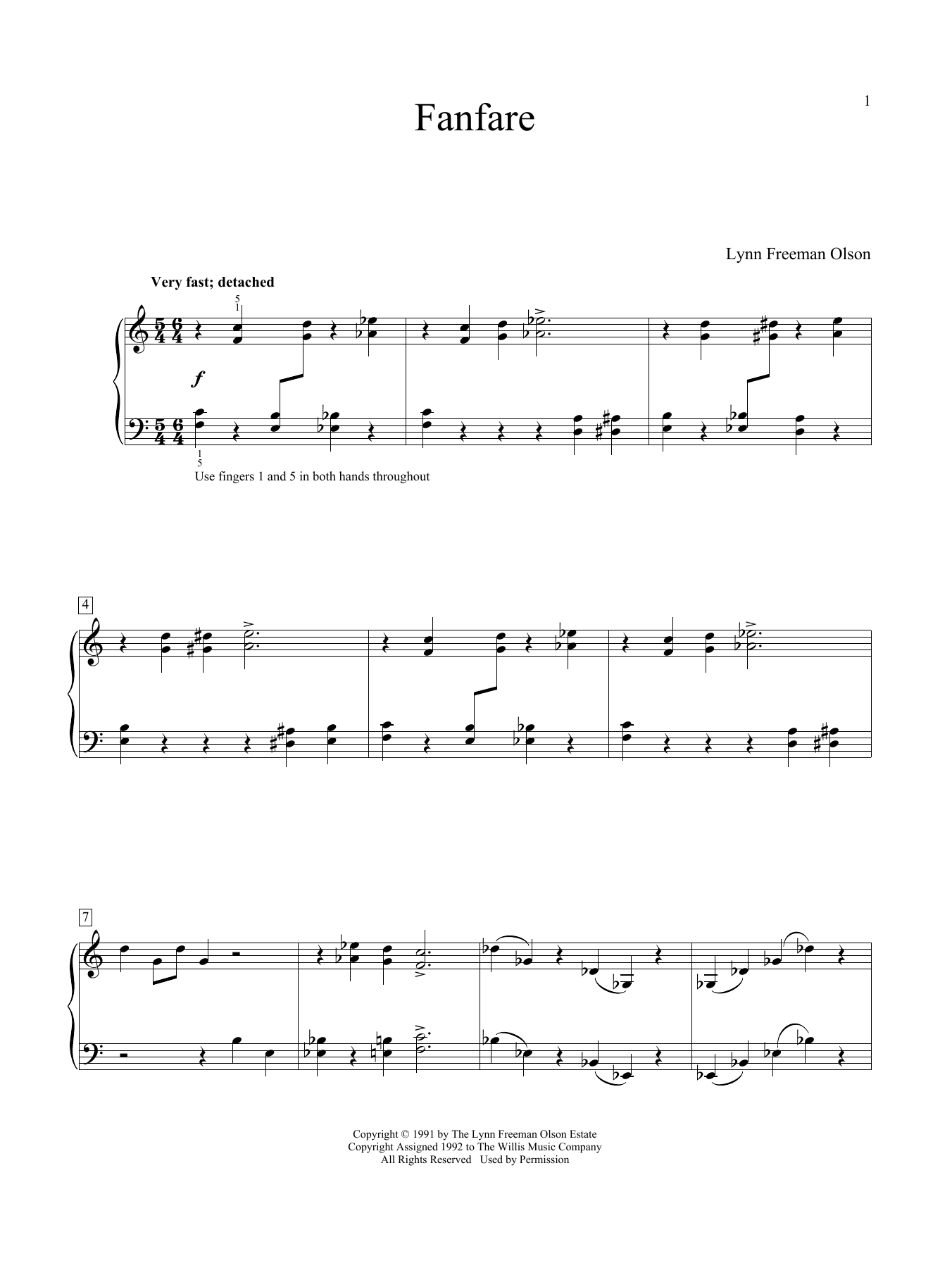 Lynn Freeman Olson Fanfare sheet music notes and chords. Download Printable PDF.