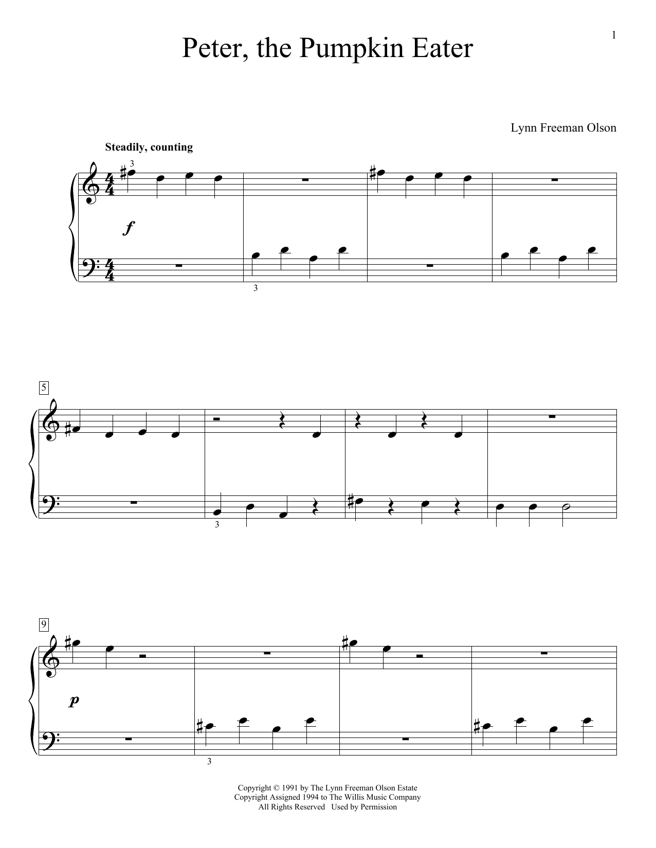 Lynn Freeman Olson Peter, The Pumpkin Eater sheet music notes and chords. Download Printable PDF.