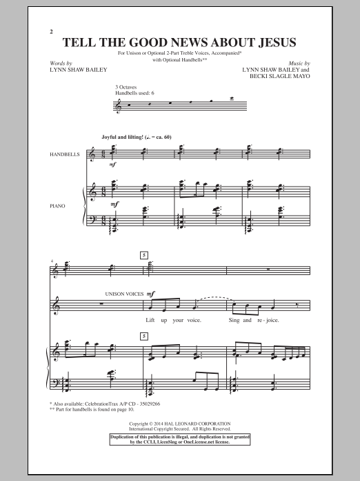 Lynn Shaw Bailey Tell The Good News About Jesus sheet music notes and chords. Download Printable PDF.