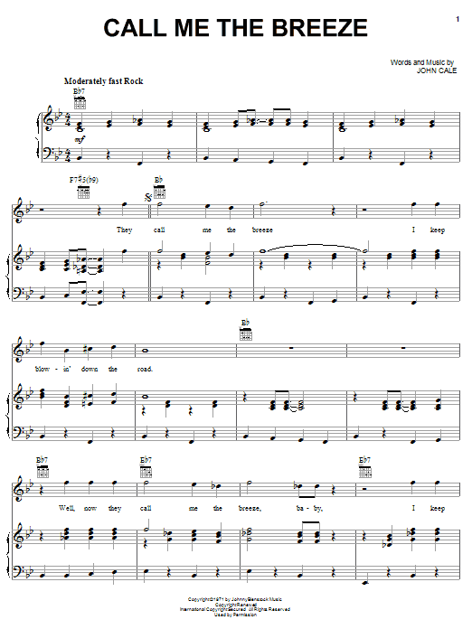 Lynyrd Skynyrd Call Me The Breeze sheet music notes and chords. Download Printable PDF.
