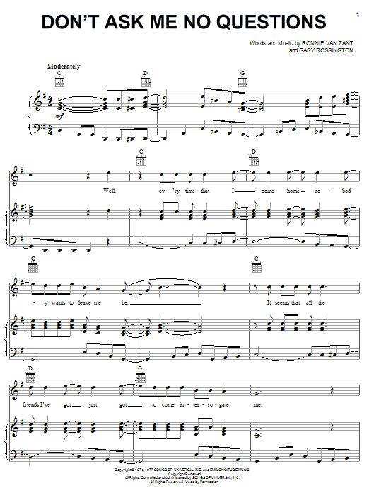 Lynyrd Skynyrd Don't Ask Me No Questions sheet music notes and chords. Download Printable PDF.