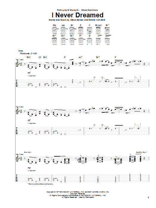 Lynyrd Skynyrd I Never Dreamed sheet music notes and chords. Download Printable PDF.