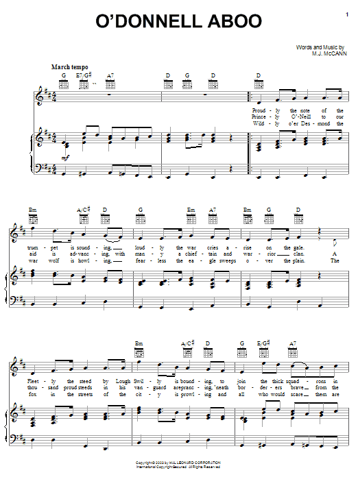 M. J. McCann O'Donnell Aboo sheet music notes and chords. Download Printable PDF.