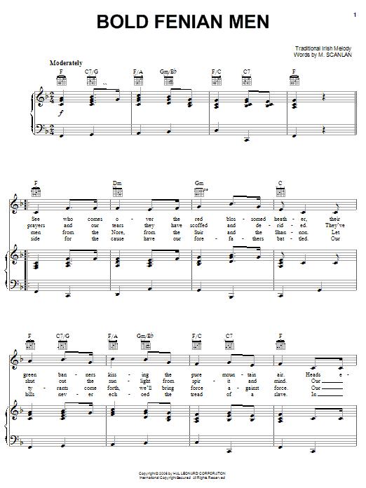 M. Scanlan Bold Fenian Men sheet music notes and chords. Download Printable PDF.