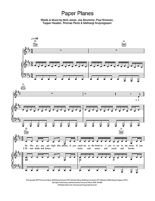 M.I.A. Paper Planes sheet music notes and chords. Download Printable PDF.