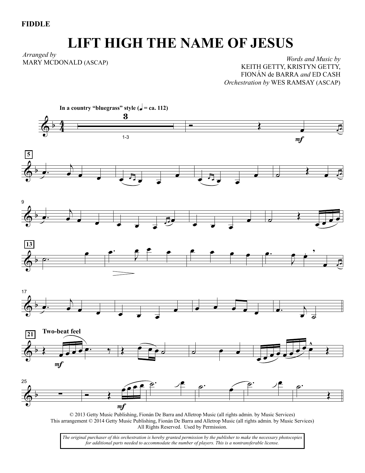 M McDonald Lift High the Name of Jesus - Fiddle sheet music notes and chords. Download Printable PDF.