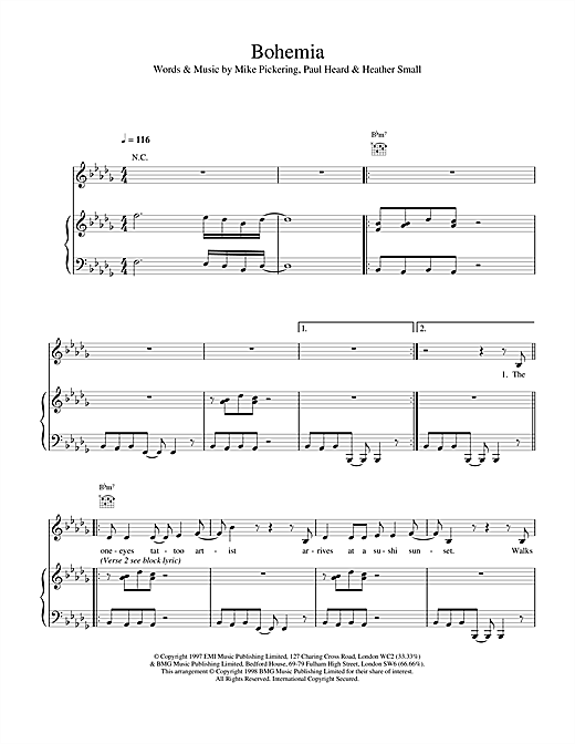 M People Bohemia sheet music notes and chords. Download Printable PDF.