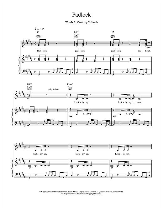M People Padlock sheet music notes and chords