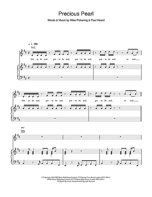 M People Precious Pearl sheet music notes and chords