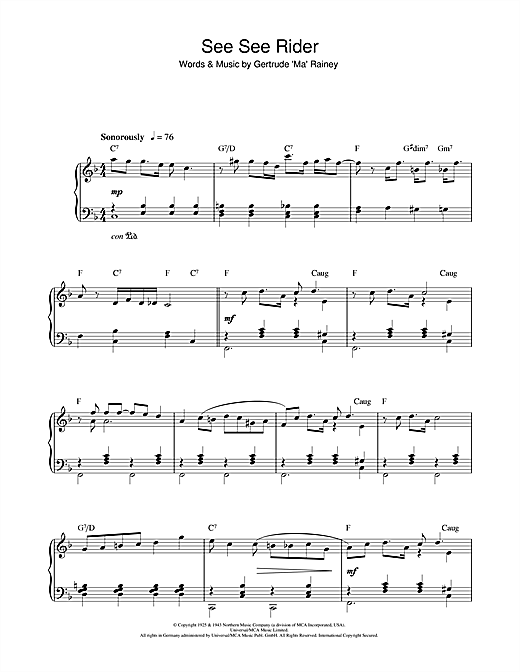 Ma Rainey See See Rider sheet music notes and chords. Download Printable PDF.