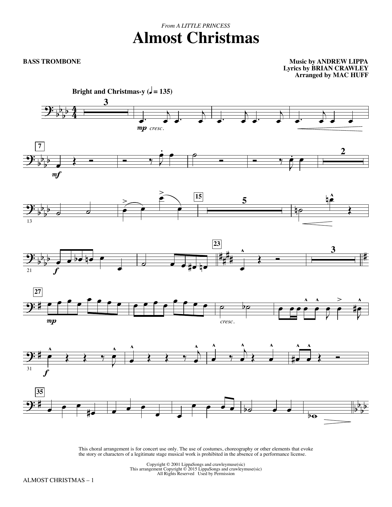 Mac Huff Almost Christmas - Bass Trombone sheet music notes and chords. Download Printable PDF.