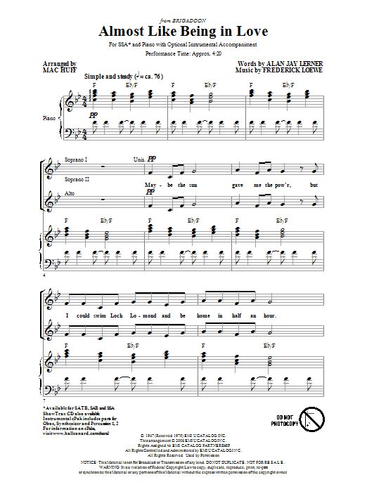 Lerner & Loewe Almost Like Being In Love (arr. Mac Huff) sheet music notes and chords. Download Printable PDF.