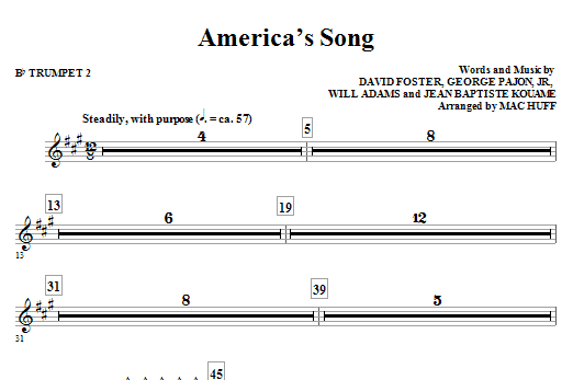 Mac Huff America's Song - Bb Trumpet 2 sheet music notes and chords. Download Printable PDF.