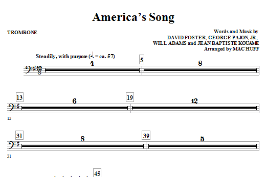 Mac Huff America's Song - Trombone sheet music notes and chords. Download Printable PDF.
