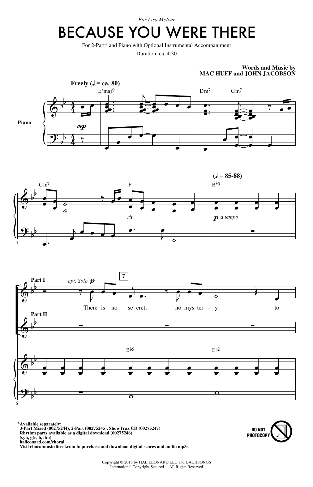 Mac Huff Because You Were There sheet music notes and chords. Download Printable PDF.