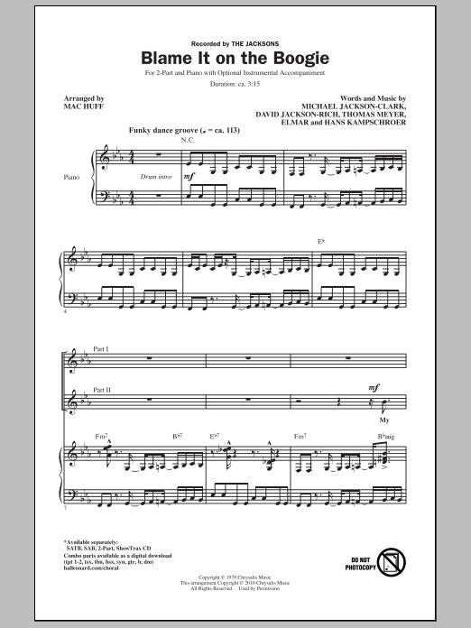 Mac Huff Blame It On The Boogie sheet music notes and chords. Download Printable PDF.