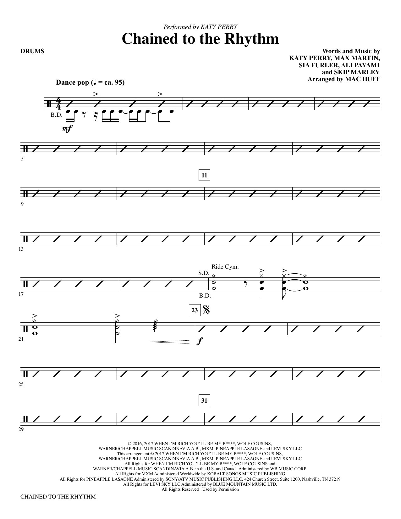 Mac Huff Chained to the Rhythm - Drums sheet music notes and chords. Download Printable PDF.