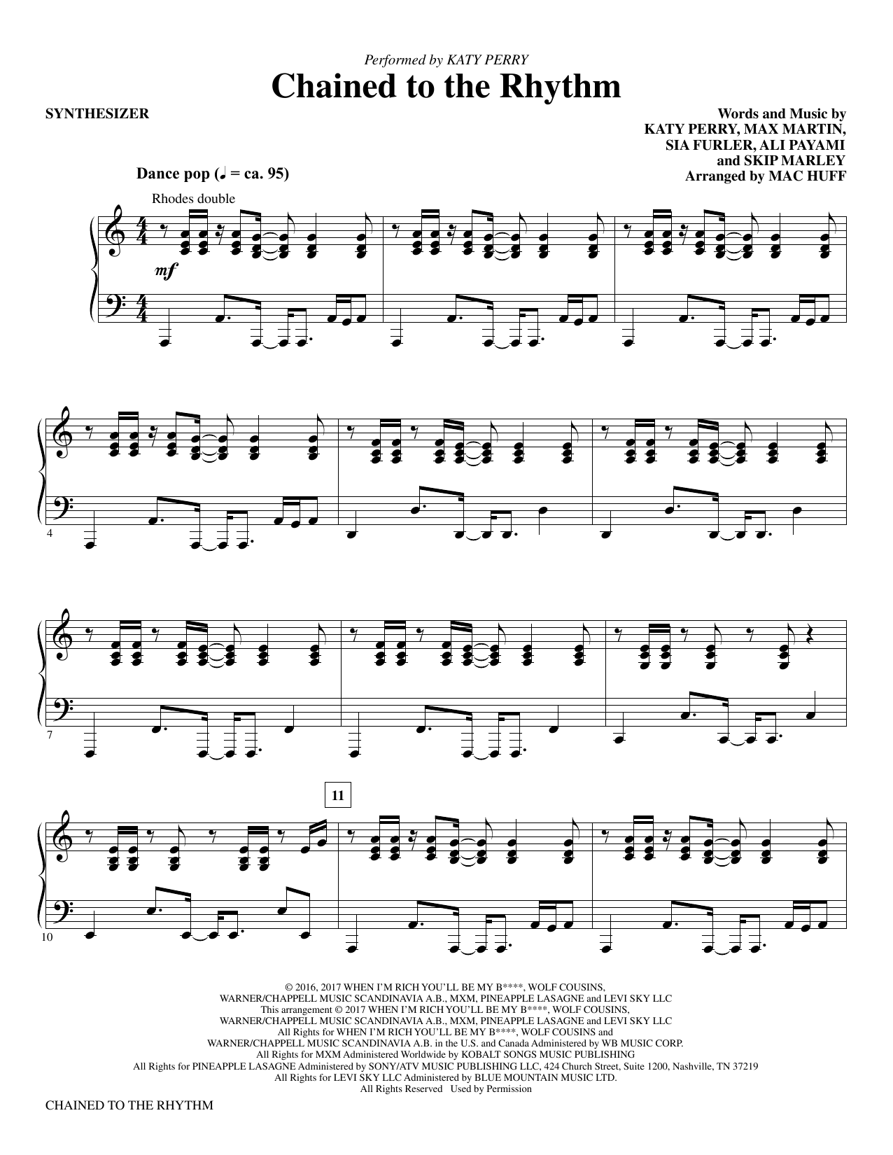 Mac Huff Chained to the Rhythm - Synthesizer sheet music notes and chords. Download Printable PDF.