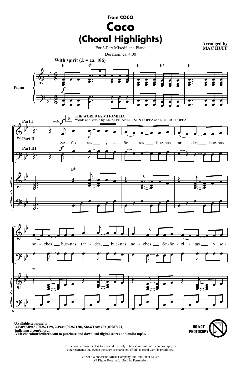 Mac Huff Coco (Choral Highlights) (arr. Mac Huff) sheet music notes and chords