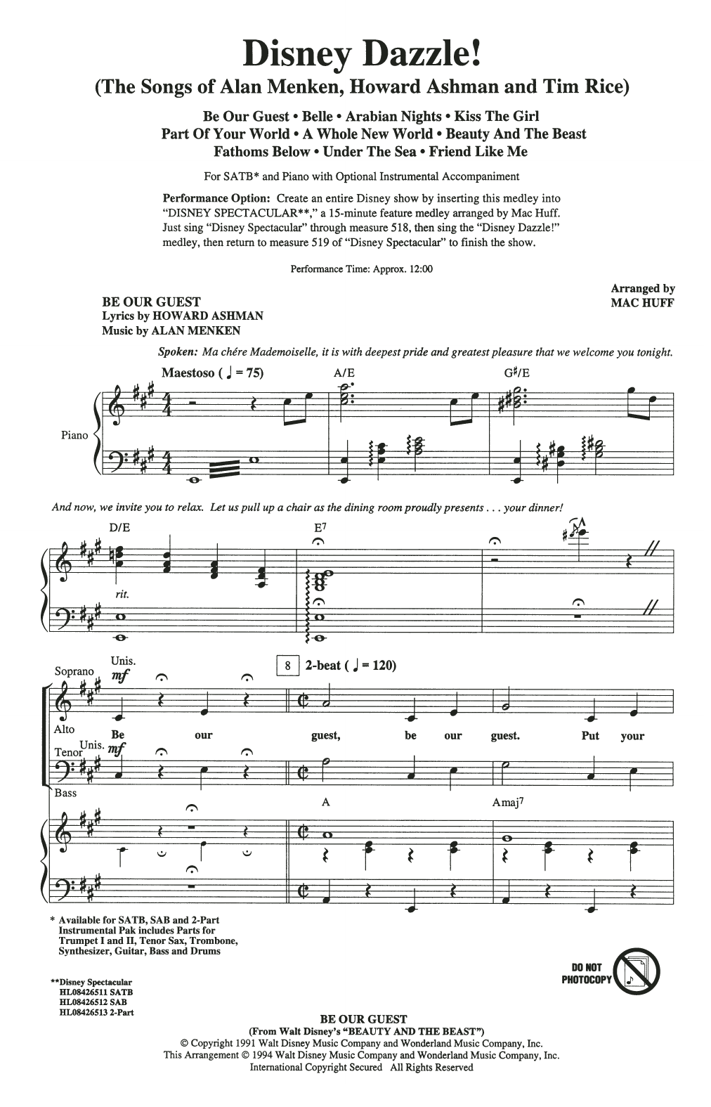 Mac Huff Disney Dazzle! (The Songs of Alan Menken, Howard Ashman and Tim Rice) (Medley) sheet music notes and chords