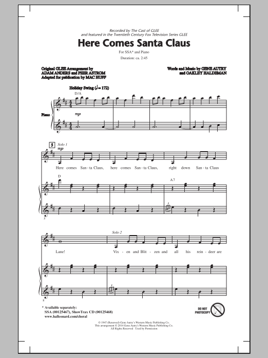 Glee Cast Here Comes Santa Claus (Right Down Santa Claus Lane) (arr. Mac Huff) sheet music notes and chords. Download Printable PDF.