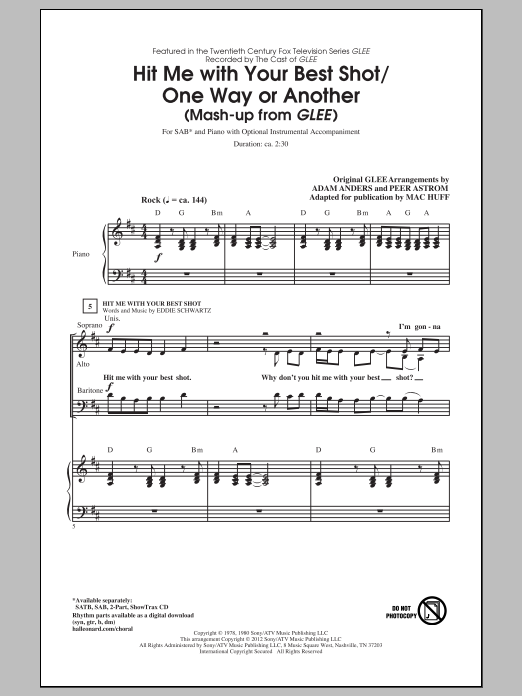 Pat Benatar Hit Me With Your Best Shot / One Way Or Another (arr. Mac Huff) sheet music notes and chords. Download Printable PDF.