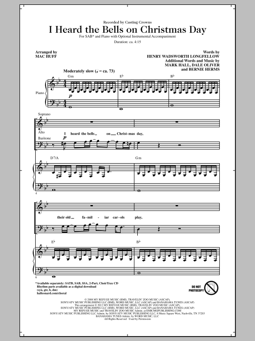 Casting Crowns I Heard The Bells On Christmas Day (arr. Mac Huff) sheet music notes and chords. Download Printable PDF.