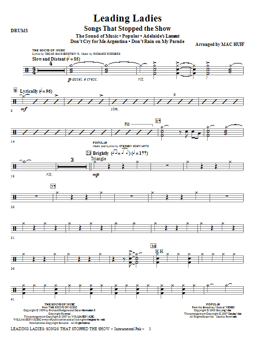 Mac Huff Leading Ladies: Songs That Stopped the Show - Drums sheet music notes and chords. Download Printable PDF.