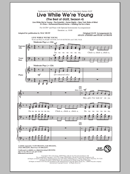 Glee Cast Live While We're Young (The Best of Glee Season 4) (arr. Mac Huff) sheet music notes and chords. Download Printable PDF.
