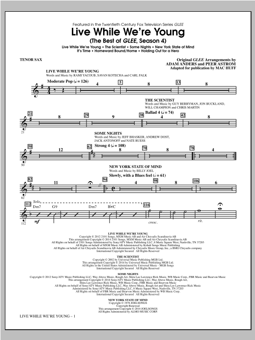 Mac Huff Live While We're Young (The Best of Glee Season 4) - Tenor Sax sheet music notes and chords. Download Printable PDF.