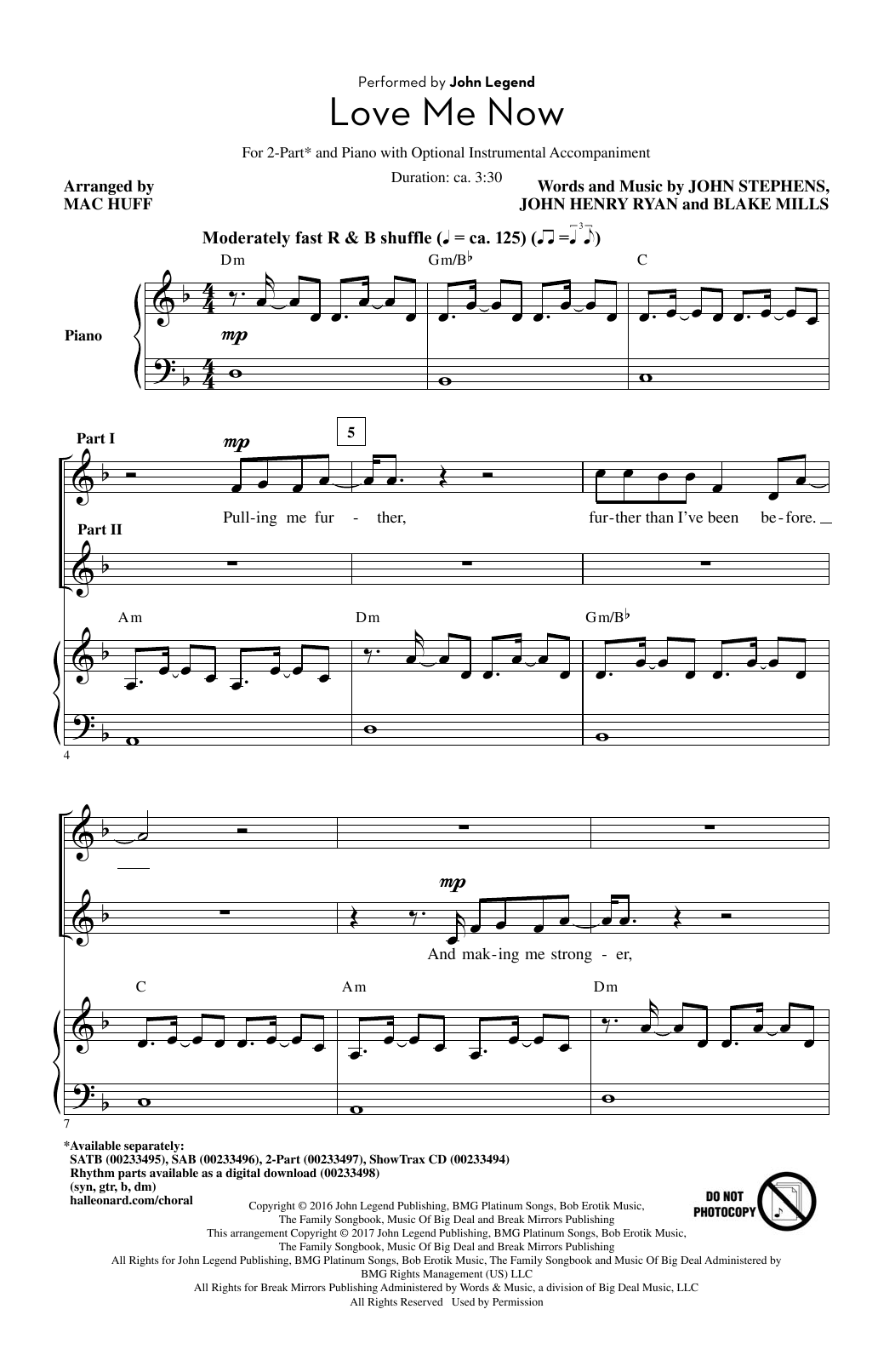 Mac Huff Love Me Now sheet music notes and chords. Download Printable PDF.