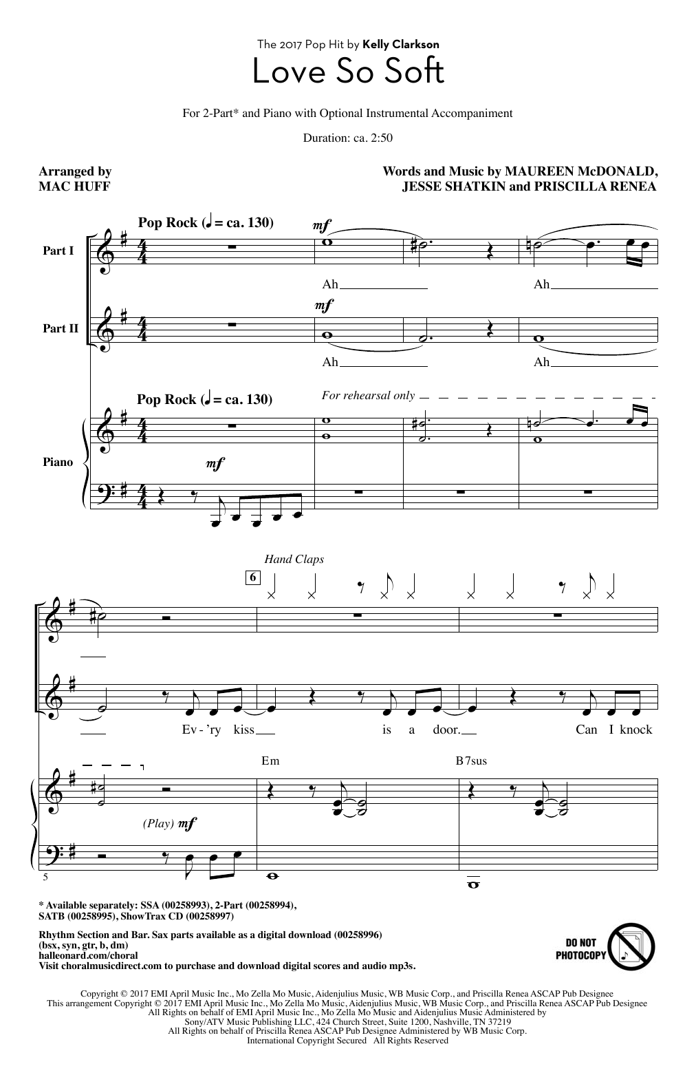 Mac Huff Love So Soft sheet music notes and chords. Download Printable PDF.
