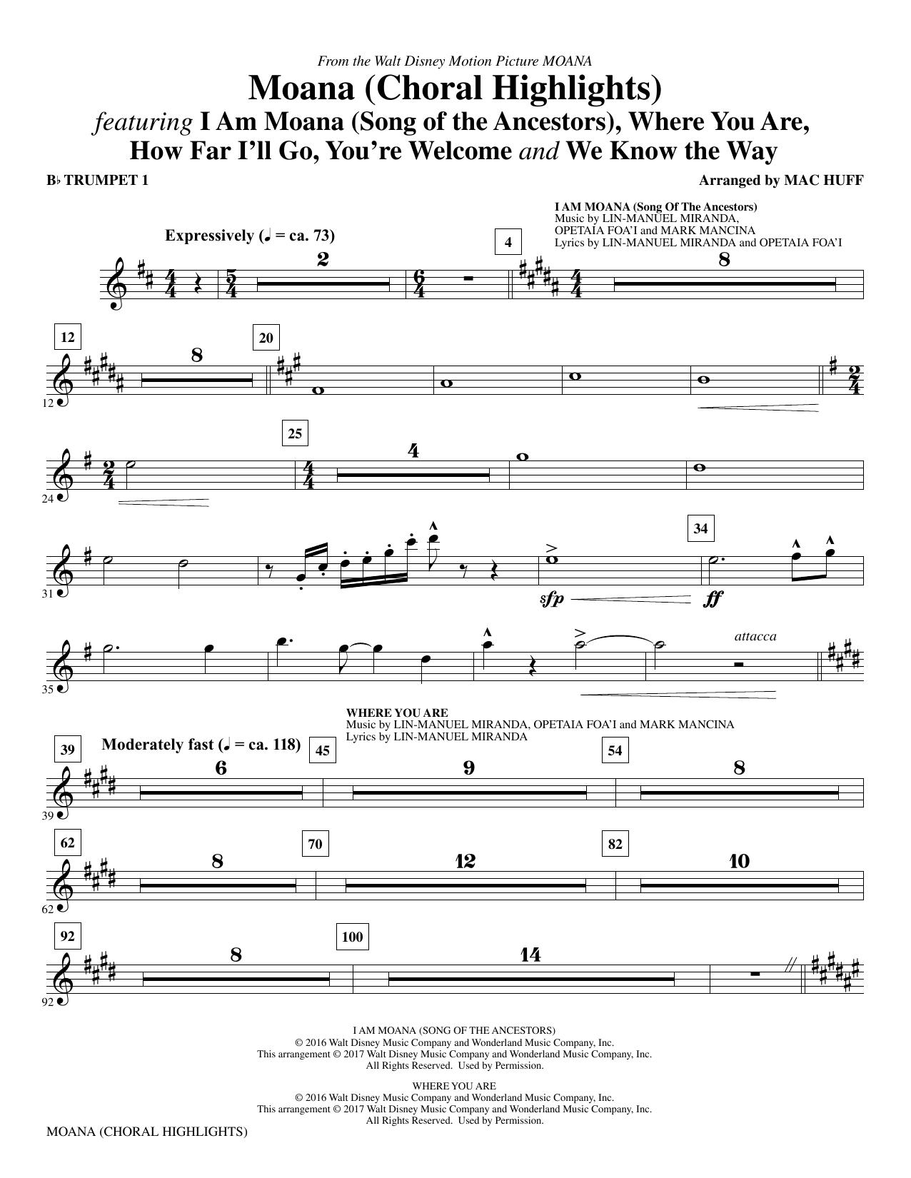Mac Huff Moana - Bb Trumpet 1 sheet music notes and chords. Download Printable PDF.