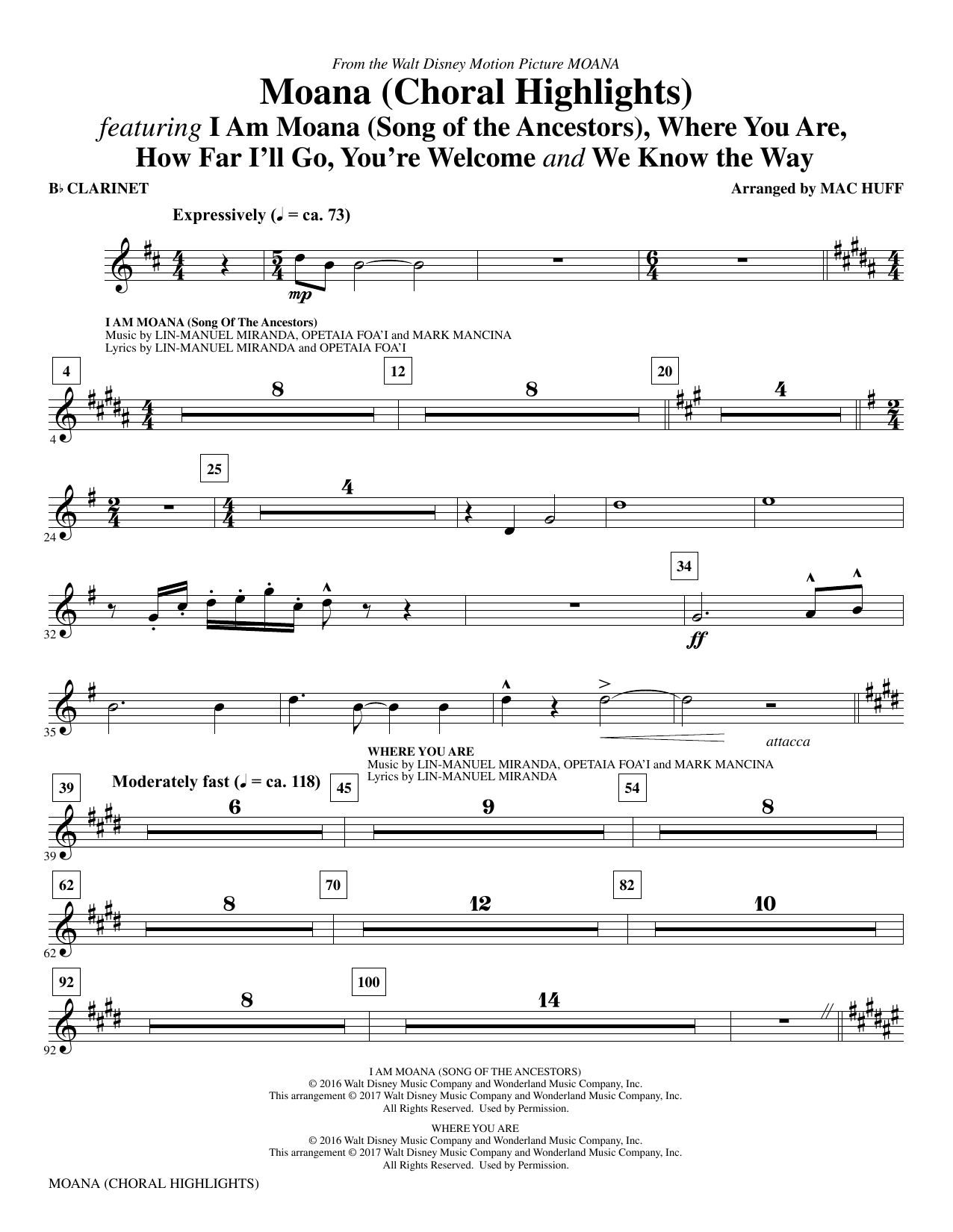 Mac Huff Moana - Clarinet sheet music notes and chords. Download Printable PDF.