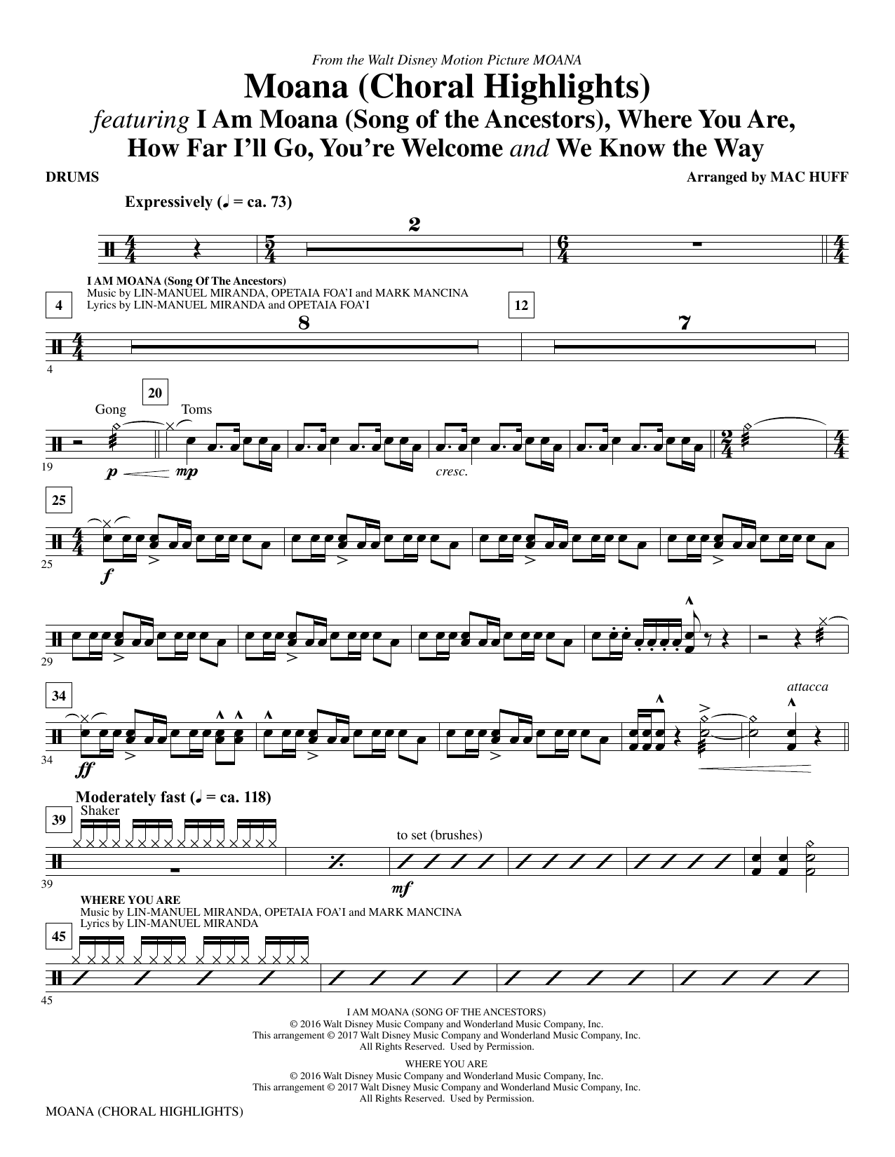 Mac Huff Moana - Drums sheet music notes and chords. Download Printable PDF.