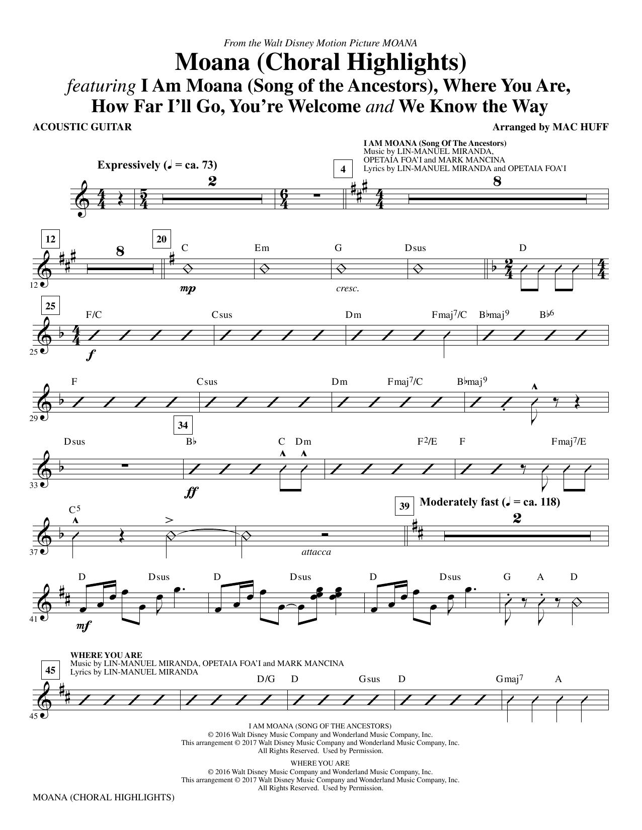 Mac Huff Moana - Guitar sheet music notes and chords. Download Printable PDF.