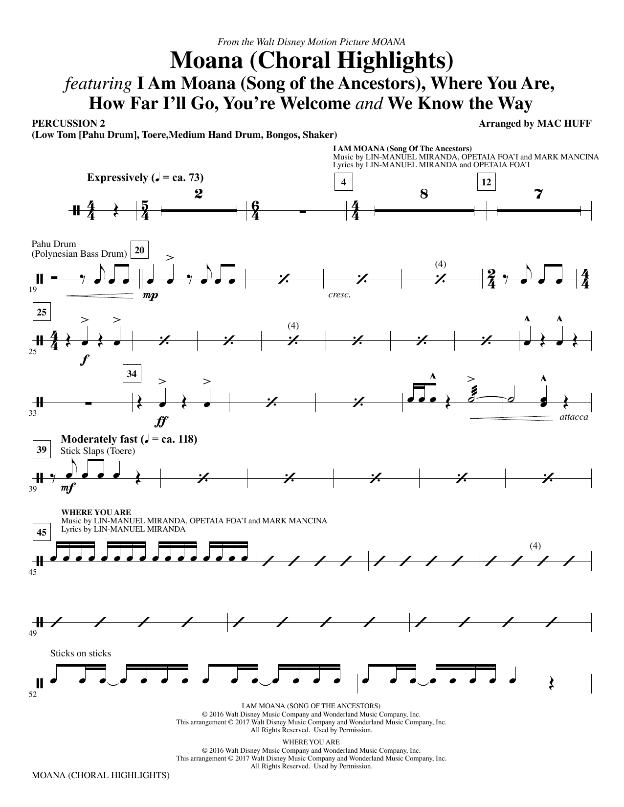 Mac Huff Moana - Percussion 2 sheet music notes and chords. Download Printable PDF.