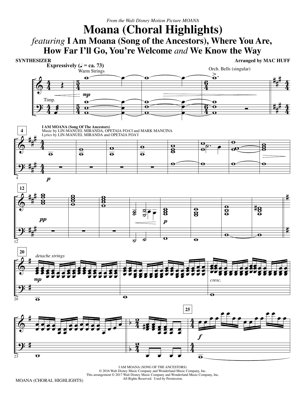Mac Huff Moana - Synthesizer sheet music notes and chords. Download Printable PDF.