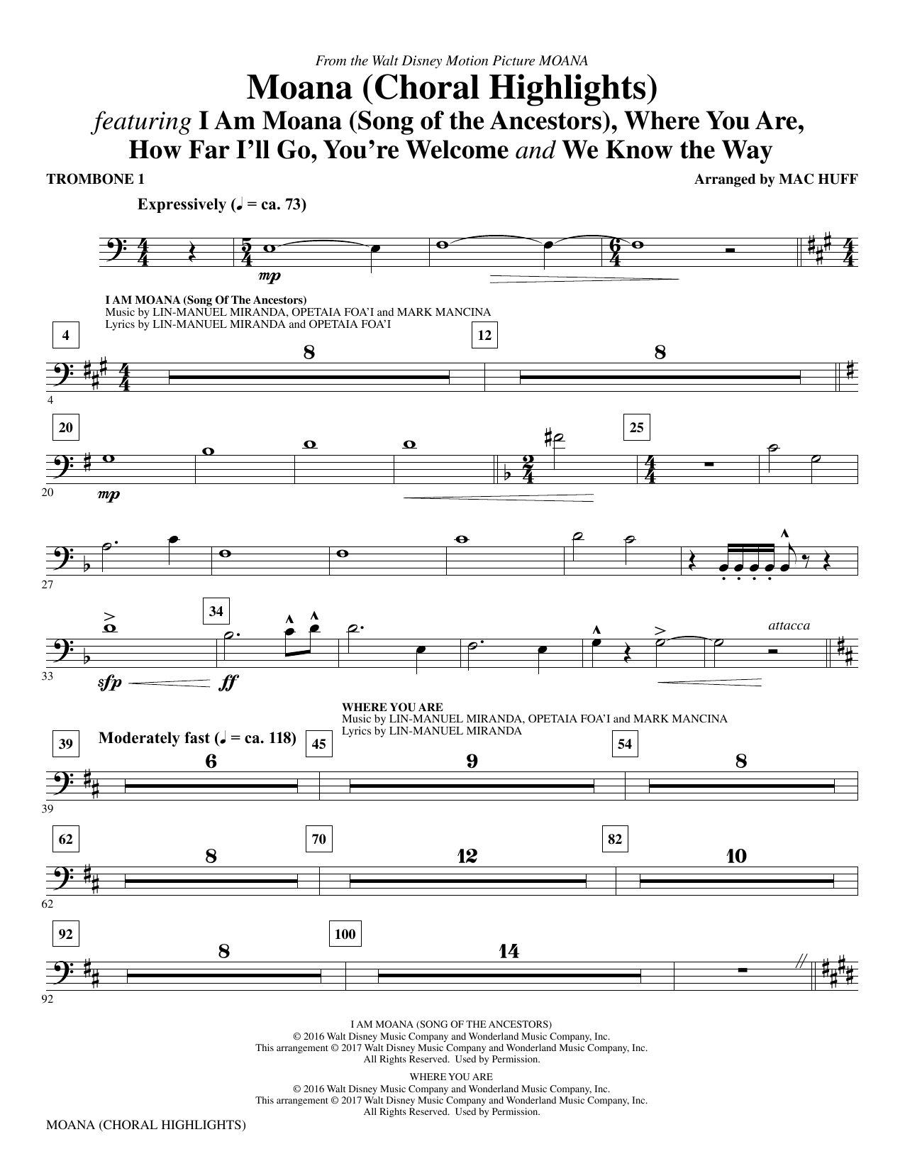 Mac Huff Moana - Trombone 1 sheet music notes and chords. Download Printable PDF.