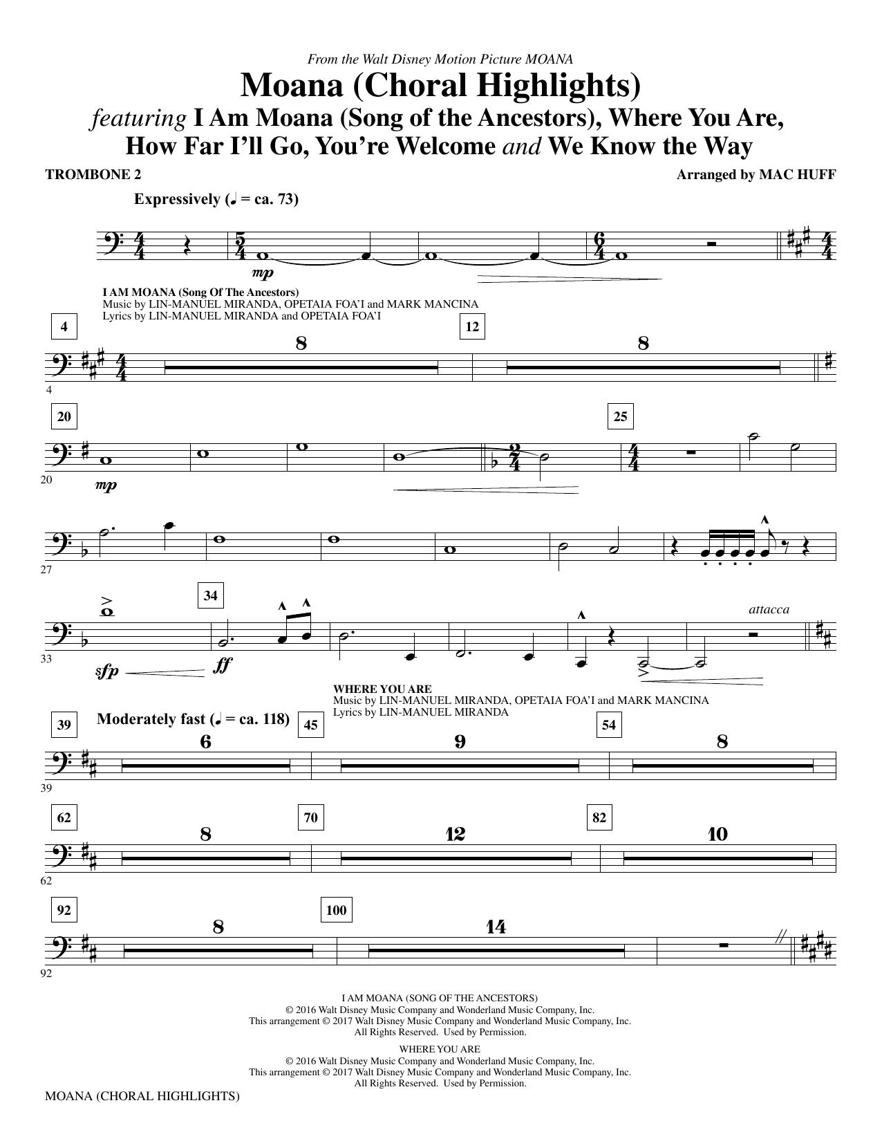 Mac Huff Moana - Trombone 2 sheet music notes and chords. Download Printable PDF.