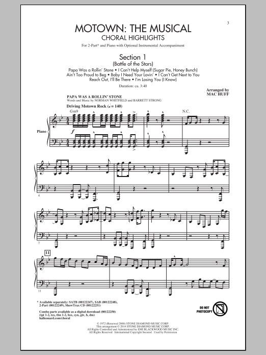 Mac Huff Motown The Musical (Choral Highlights) sheet music notes and chords. Download Printable PDF.